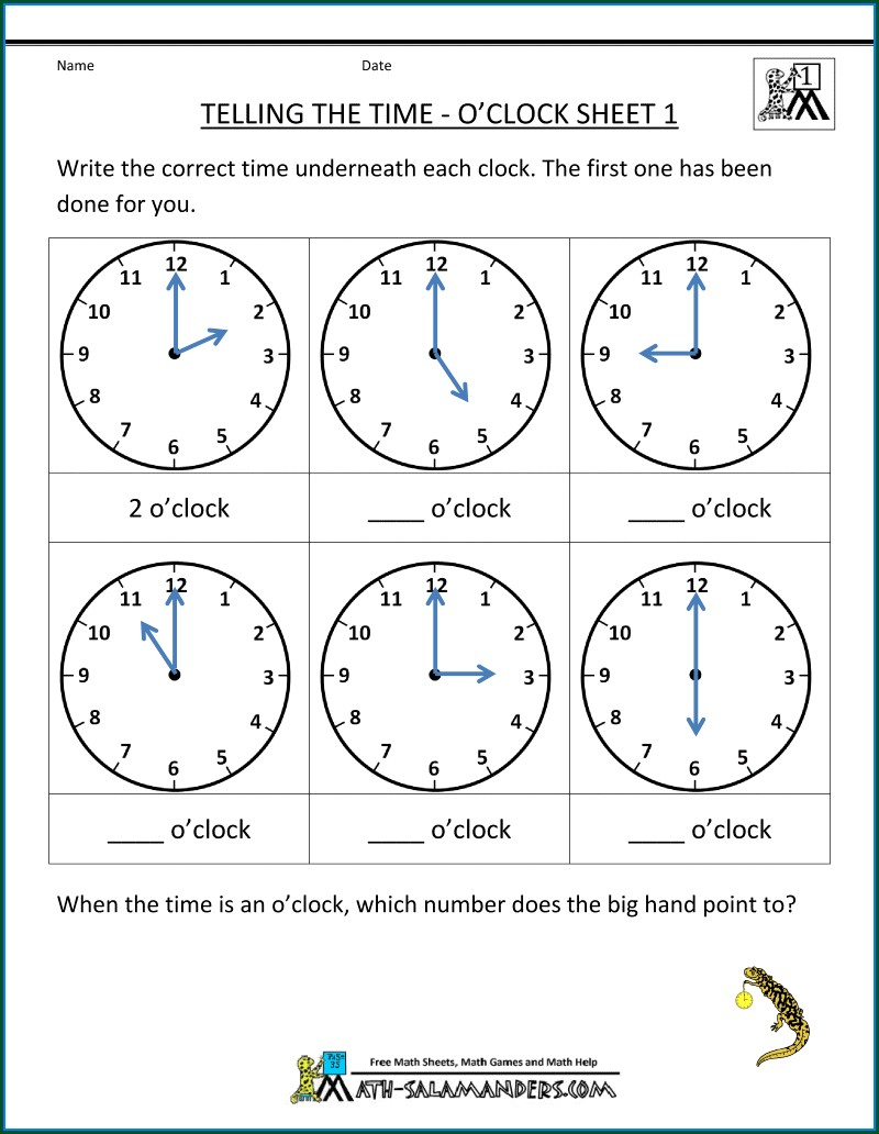 Telling Time To The Minute Worksheets Free