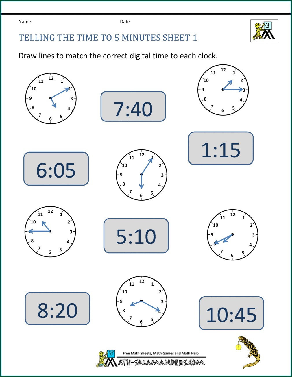 Telling Time To The Minute Worksheets Grade 4