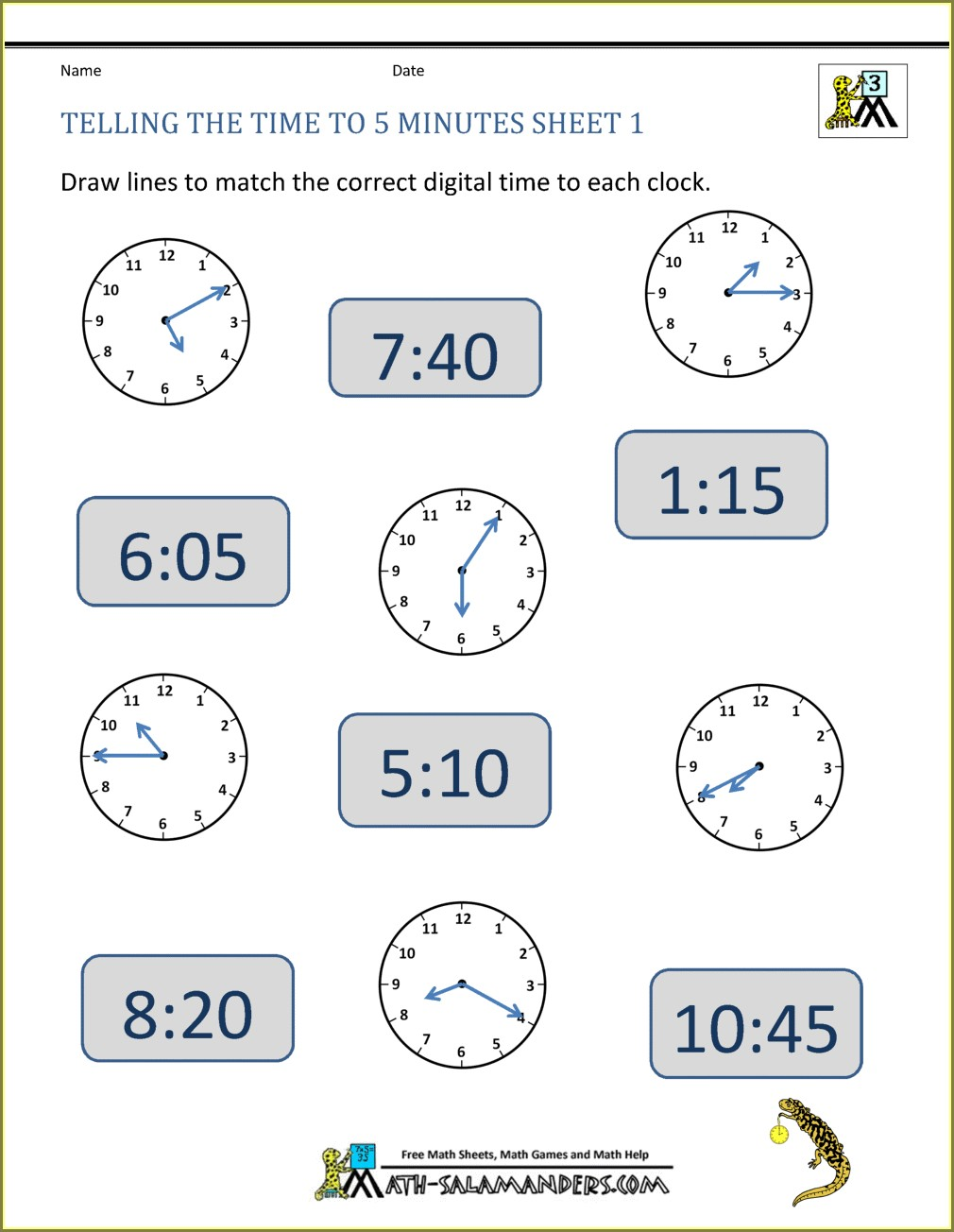 Telling Time To The Nearest Minute Worksheet Pdf