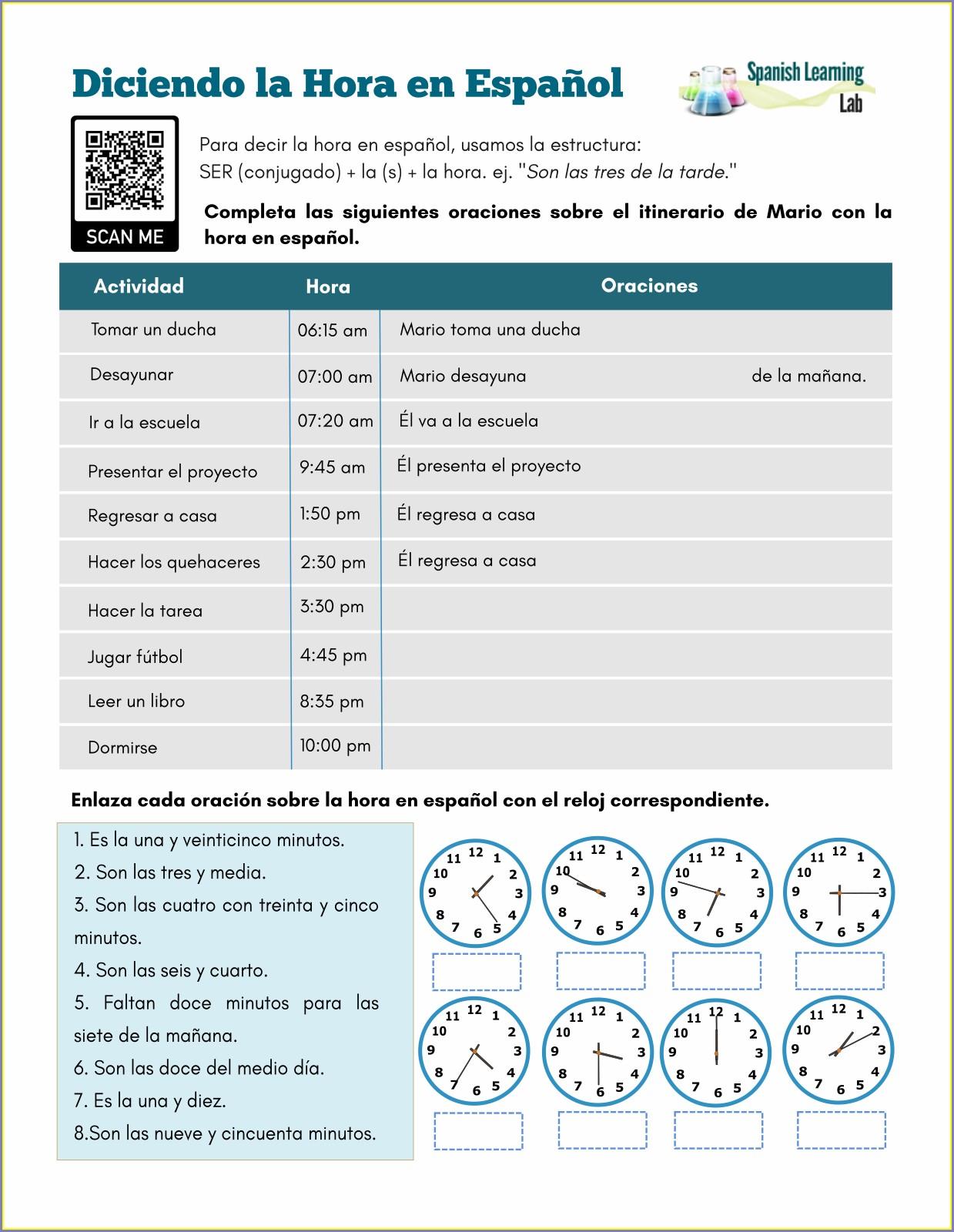 Telling Time Worksheet In Spanish