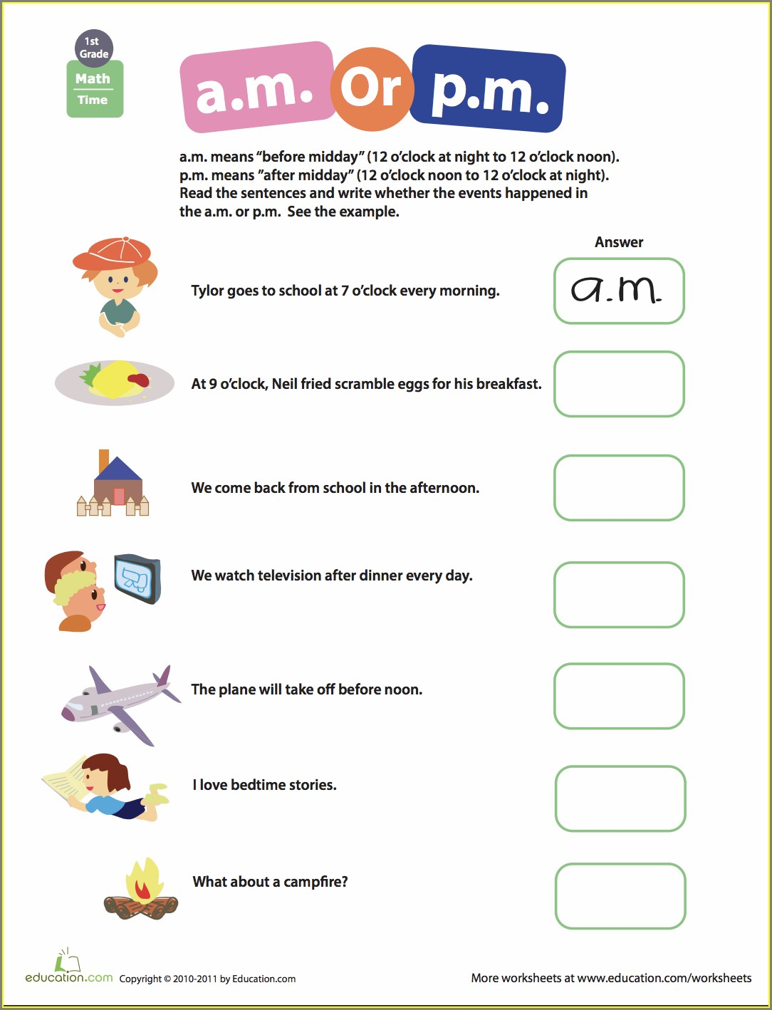 Telling Time Worksheets Am Pm