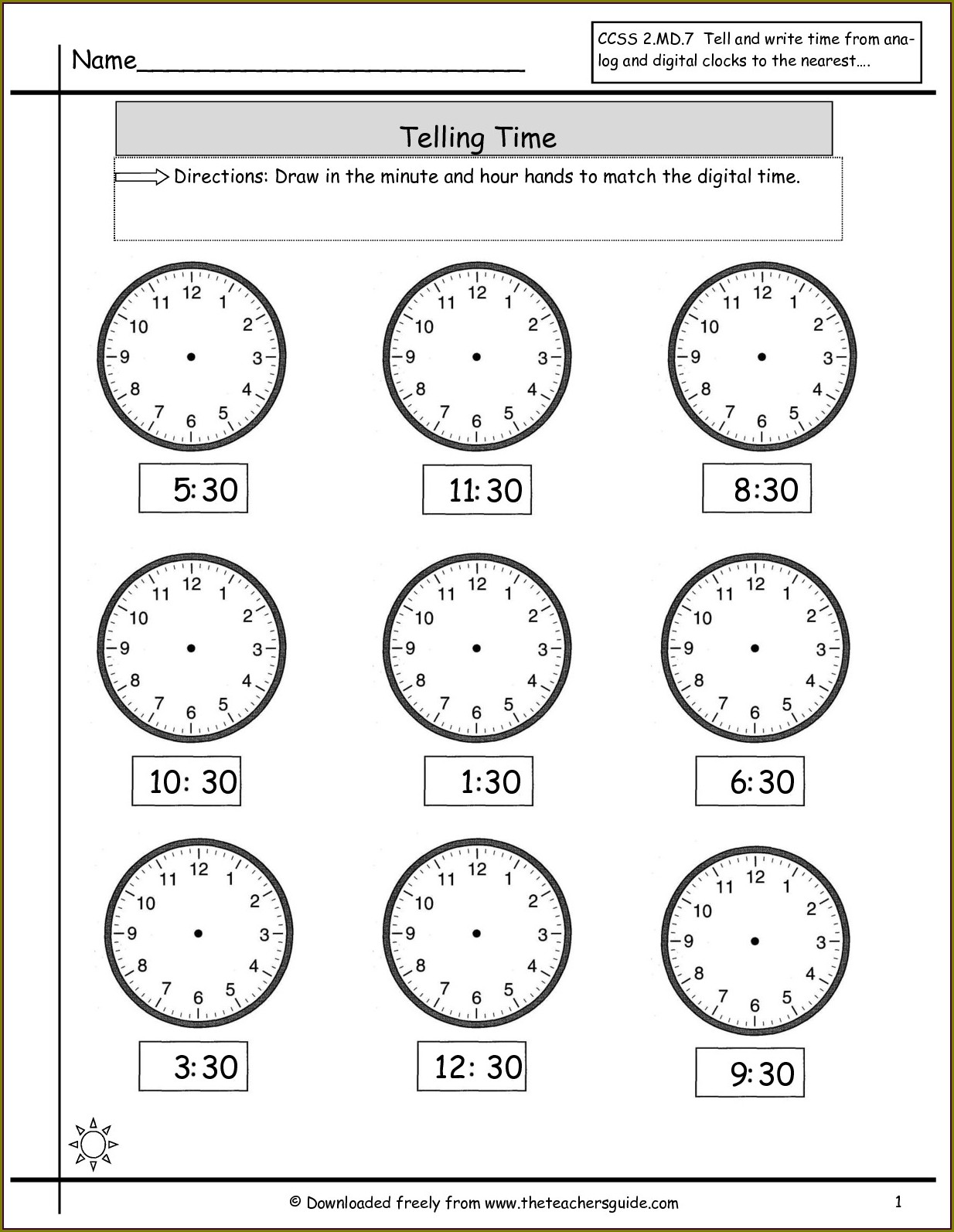 Telling Time Worksheets Draw Hands