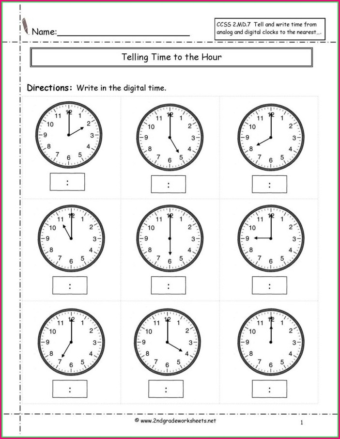 Telling Time Worksheets Half Hour
