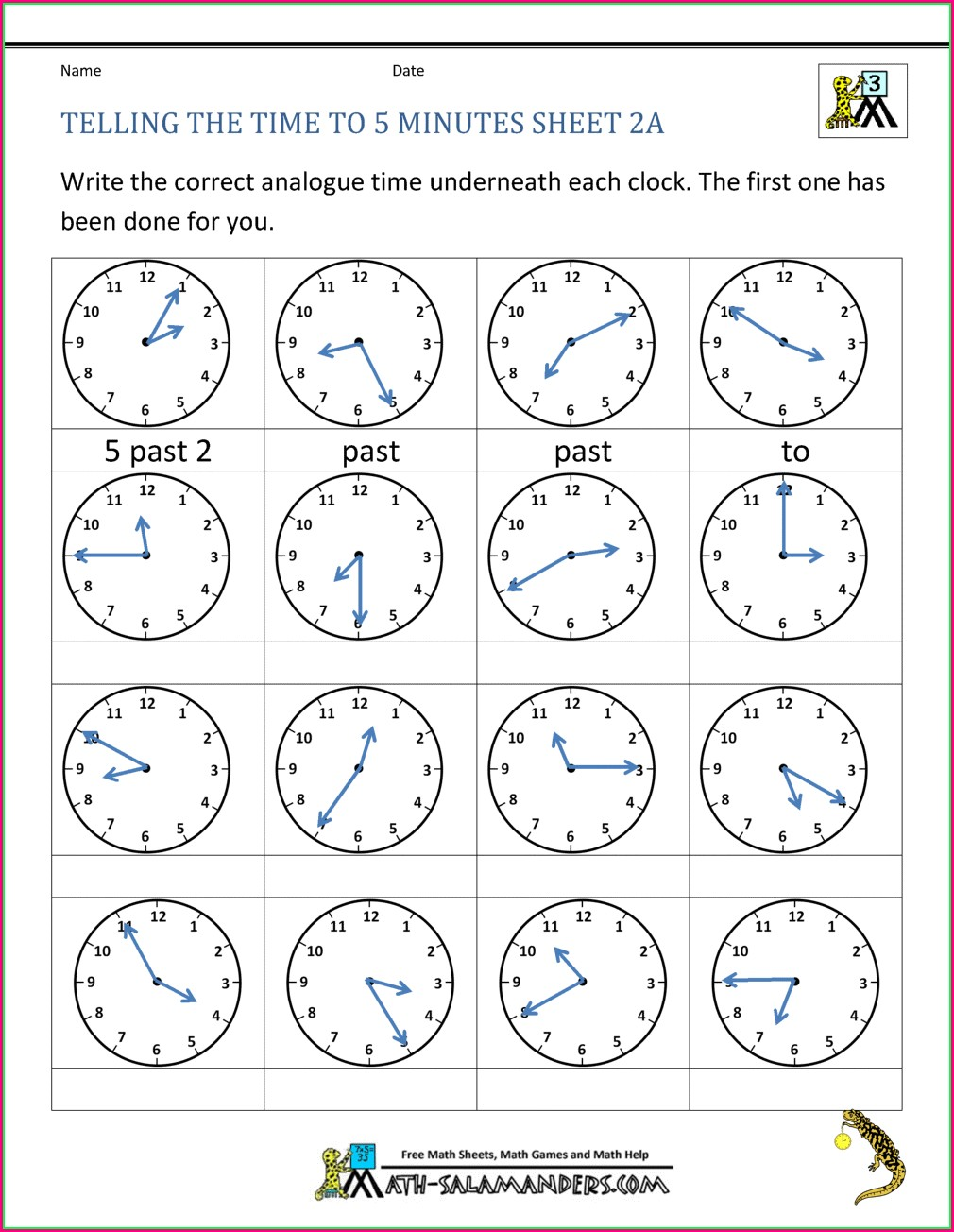 Telling Time Worksheets Nearest 5 Minutes