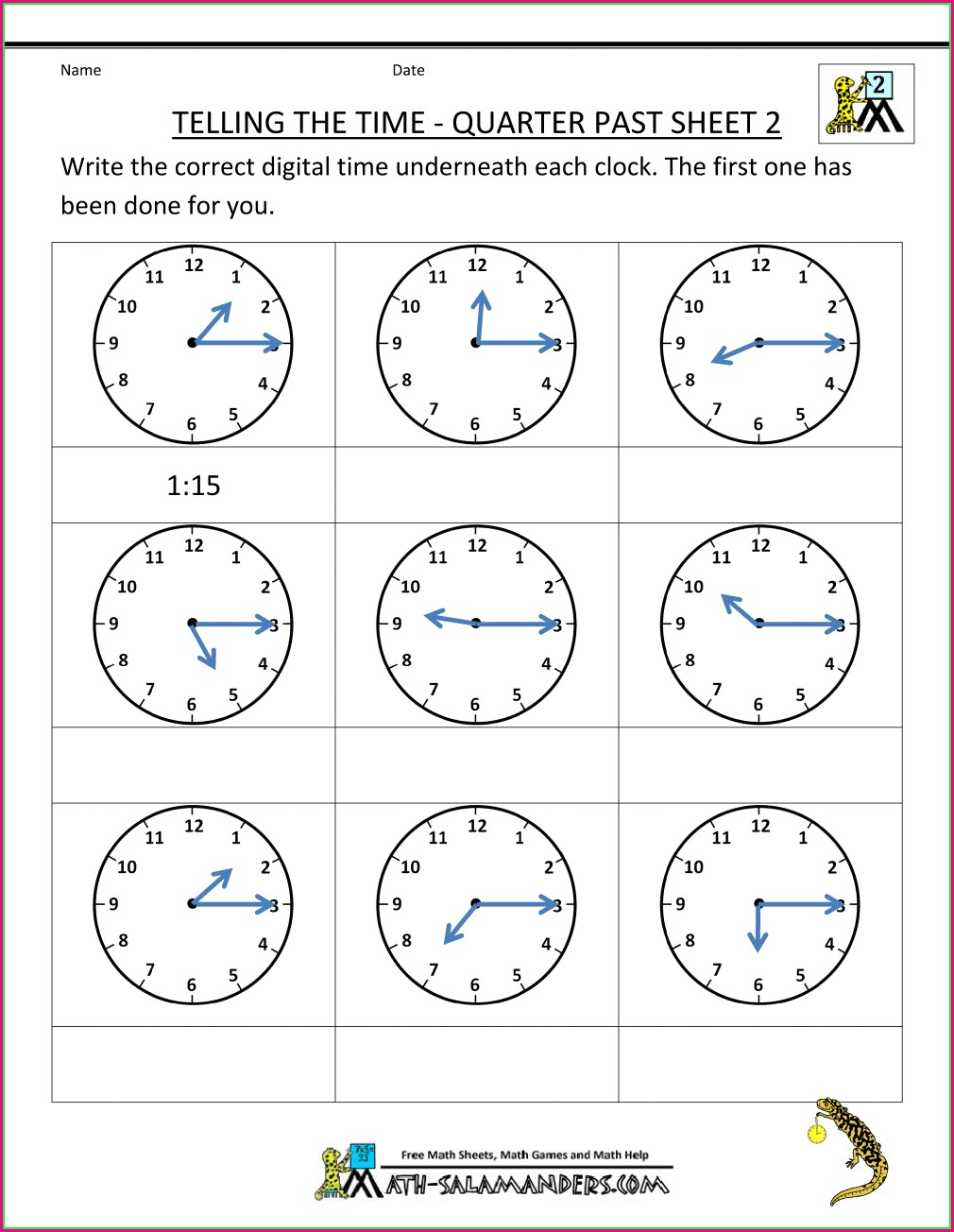 Telling Time Worksheets Quarter And Half Hour