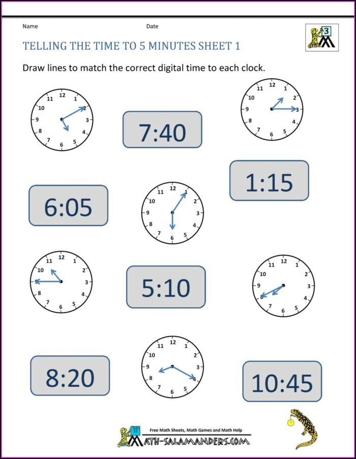 Telling Time Worksheets With Digital Clocks
