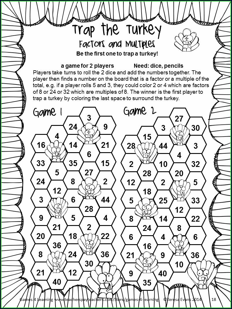 Thanksgiving Math Puzzles Pdf