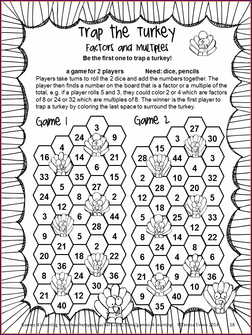 Thanksgiving Math Worksheets Fifth Grade