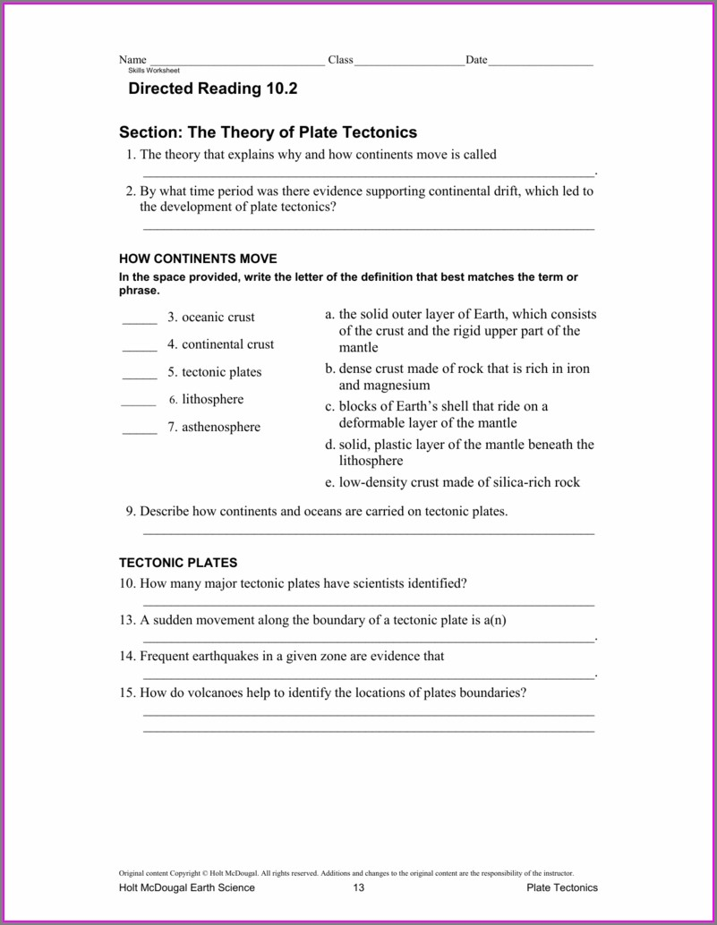 The Theory Of Plate Tectonics Worksheet Key