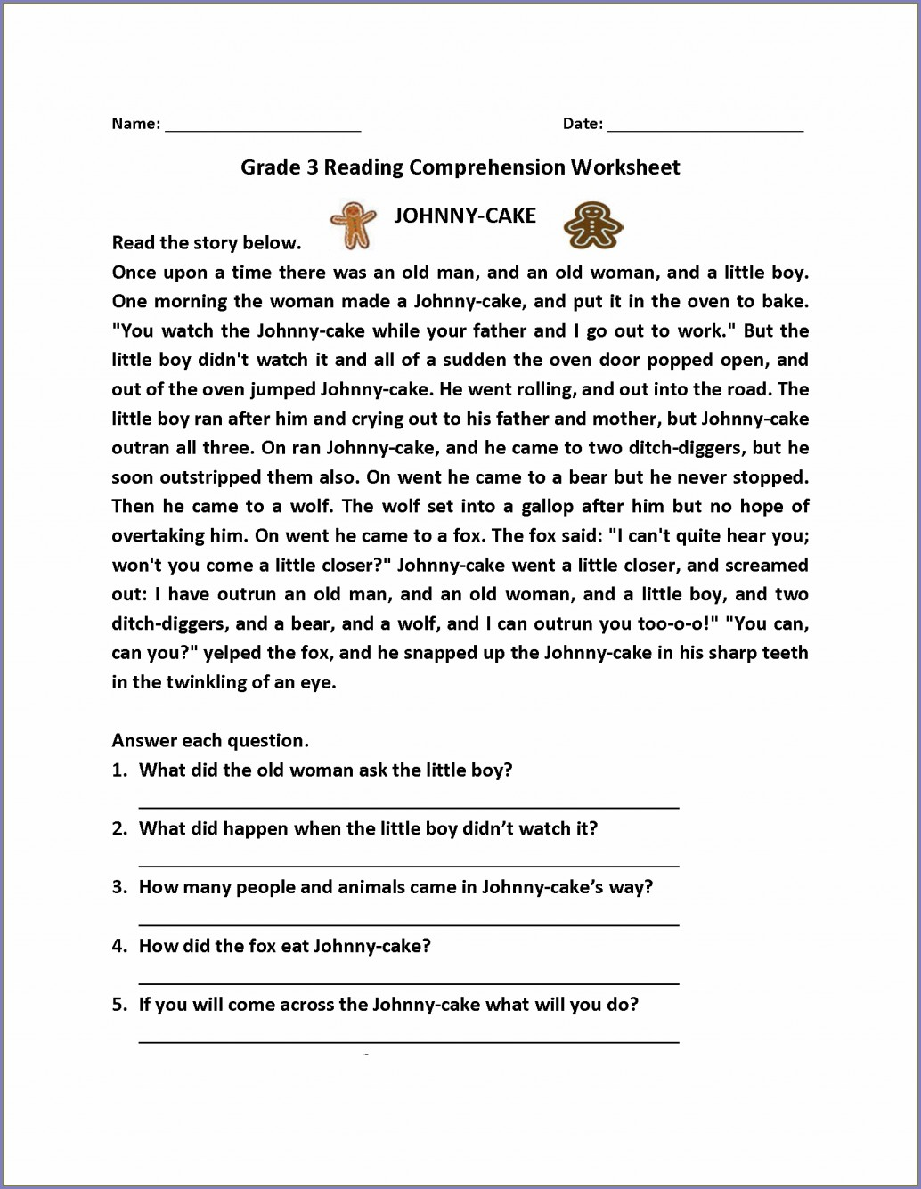 Third Grade 3rd Grade Printable Worksheets