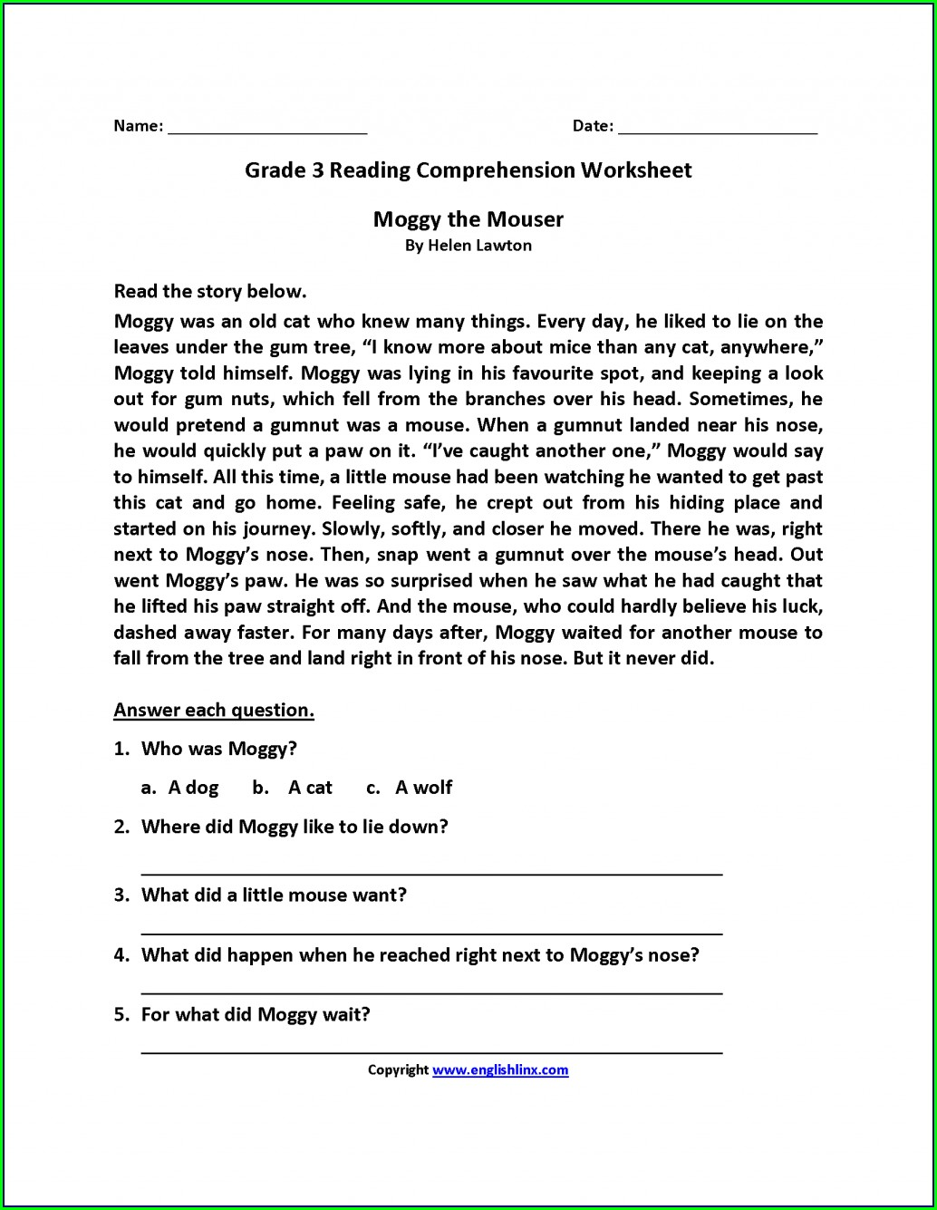 Third Grade 3rd Grade Worksheets Pdf