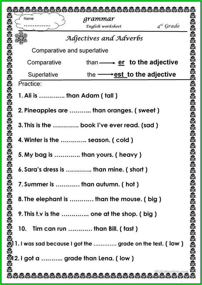 Third Grade Class 3 English Worksheet Pdf