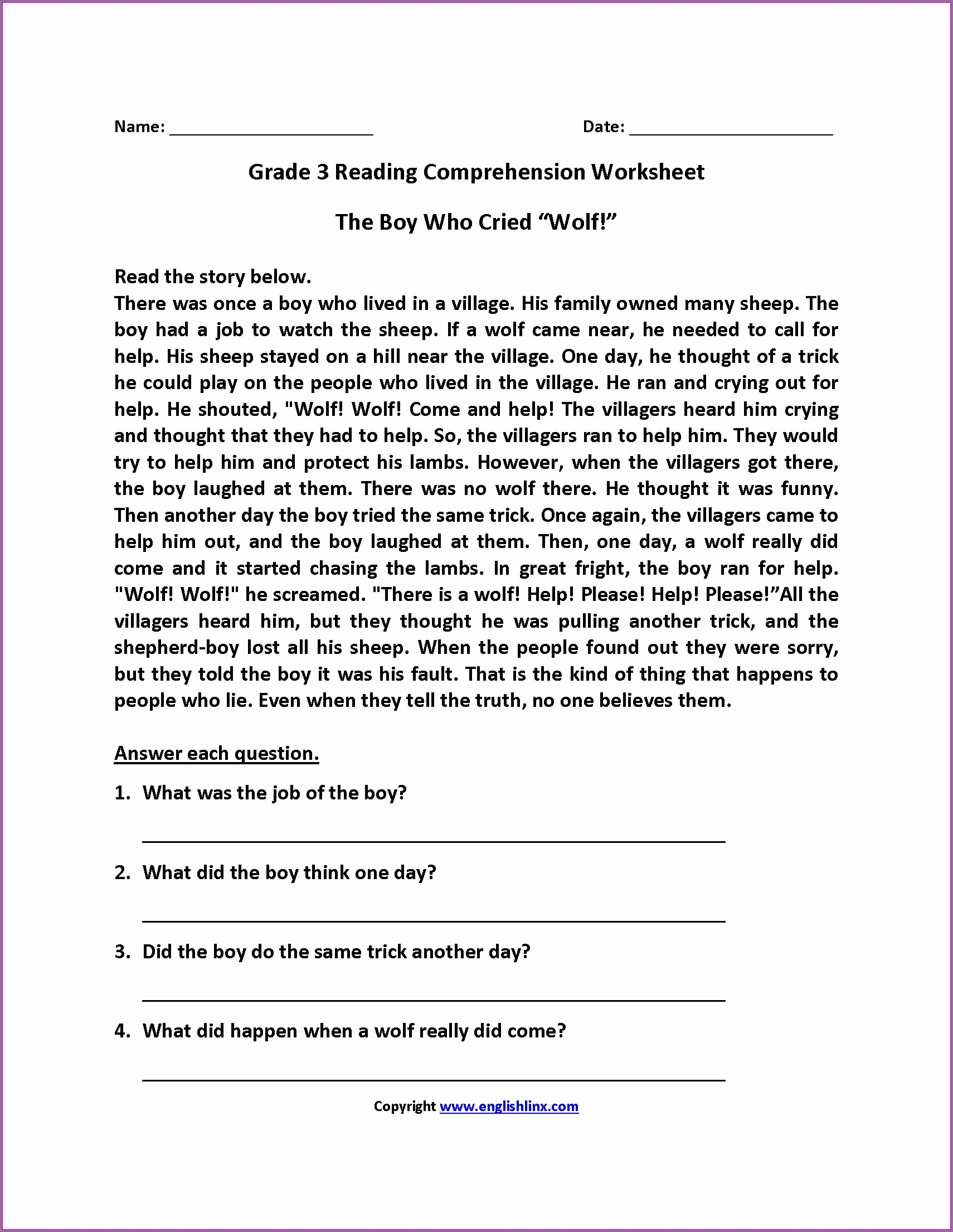 Third Grade Comprehension Worksheets And Printables