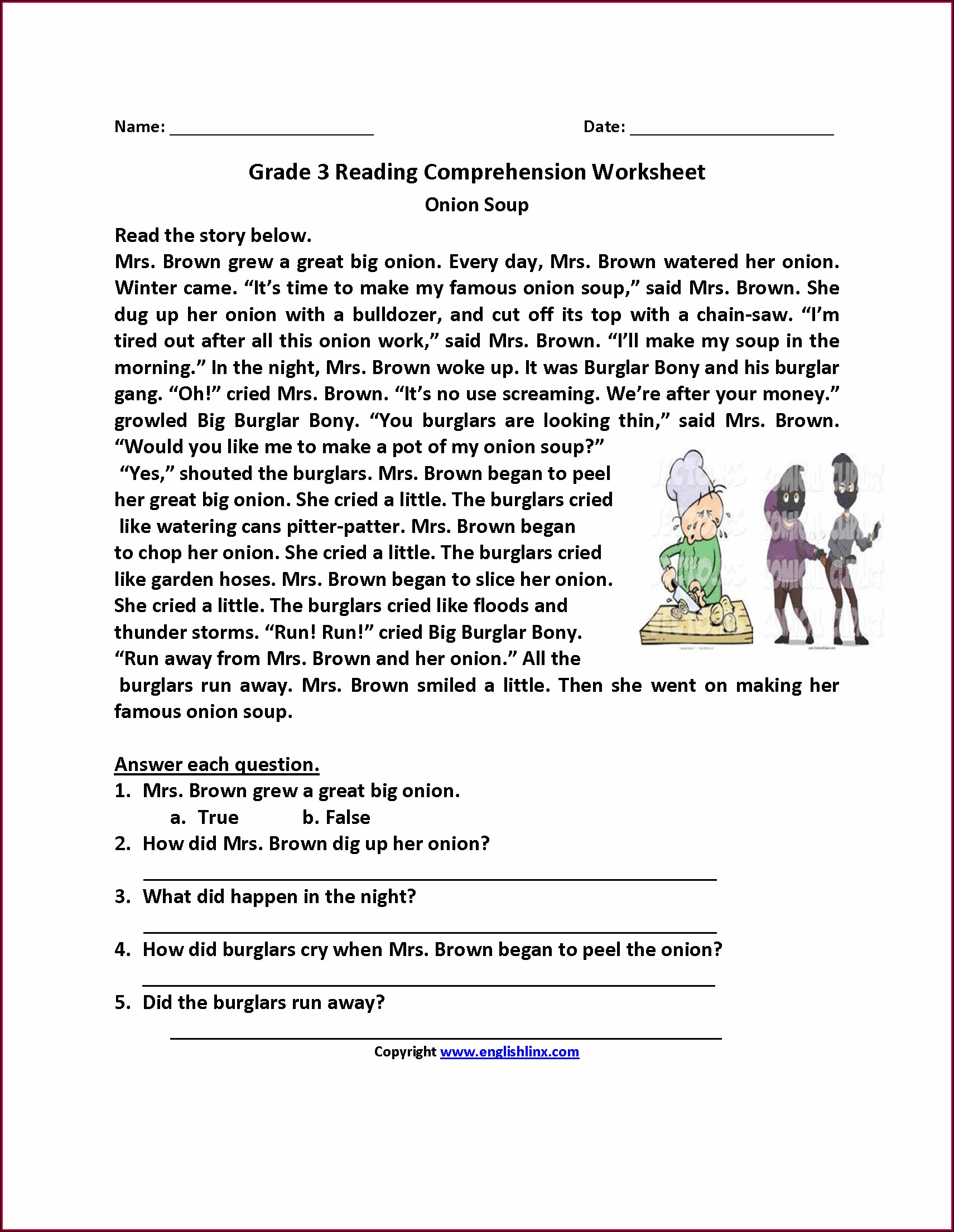 Third Grade Grade 3 English Comprehension Worksheets