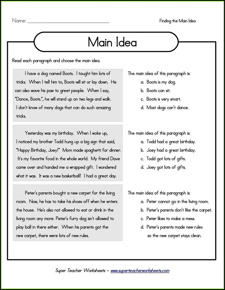 Third Grade Main Idea Paragraphs