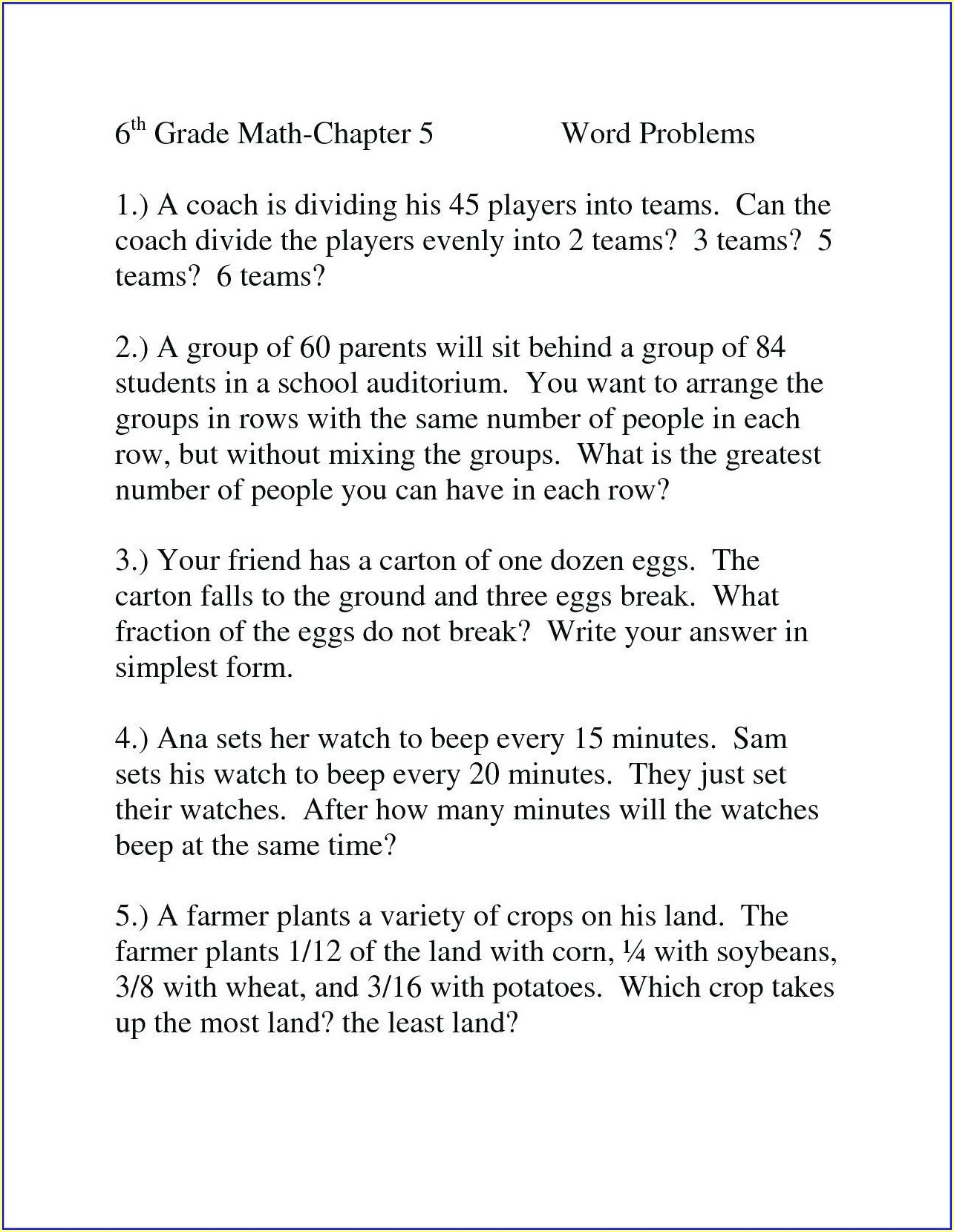 Third Grade Math Worksheets Grade 3 Word Problems