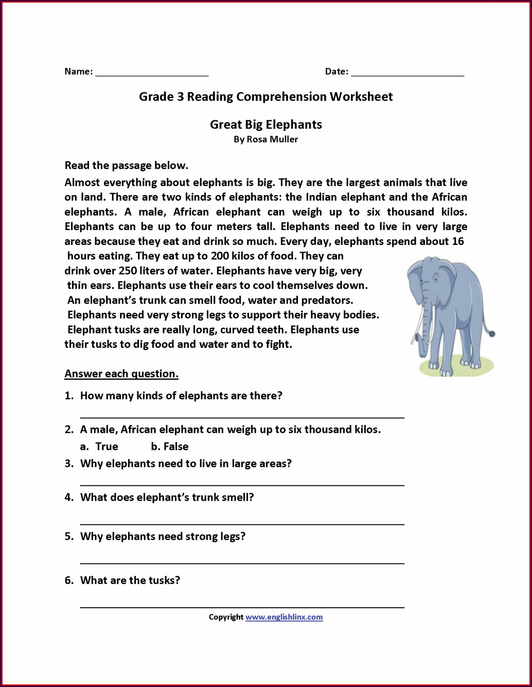 Third Grade Reading Worksheet 3rd Grade