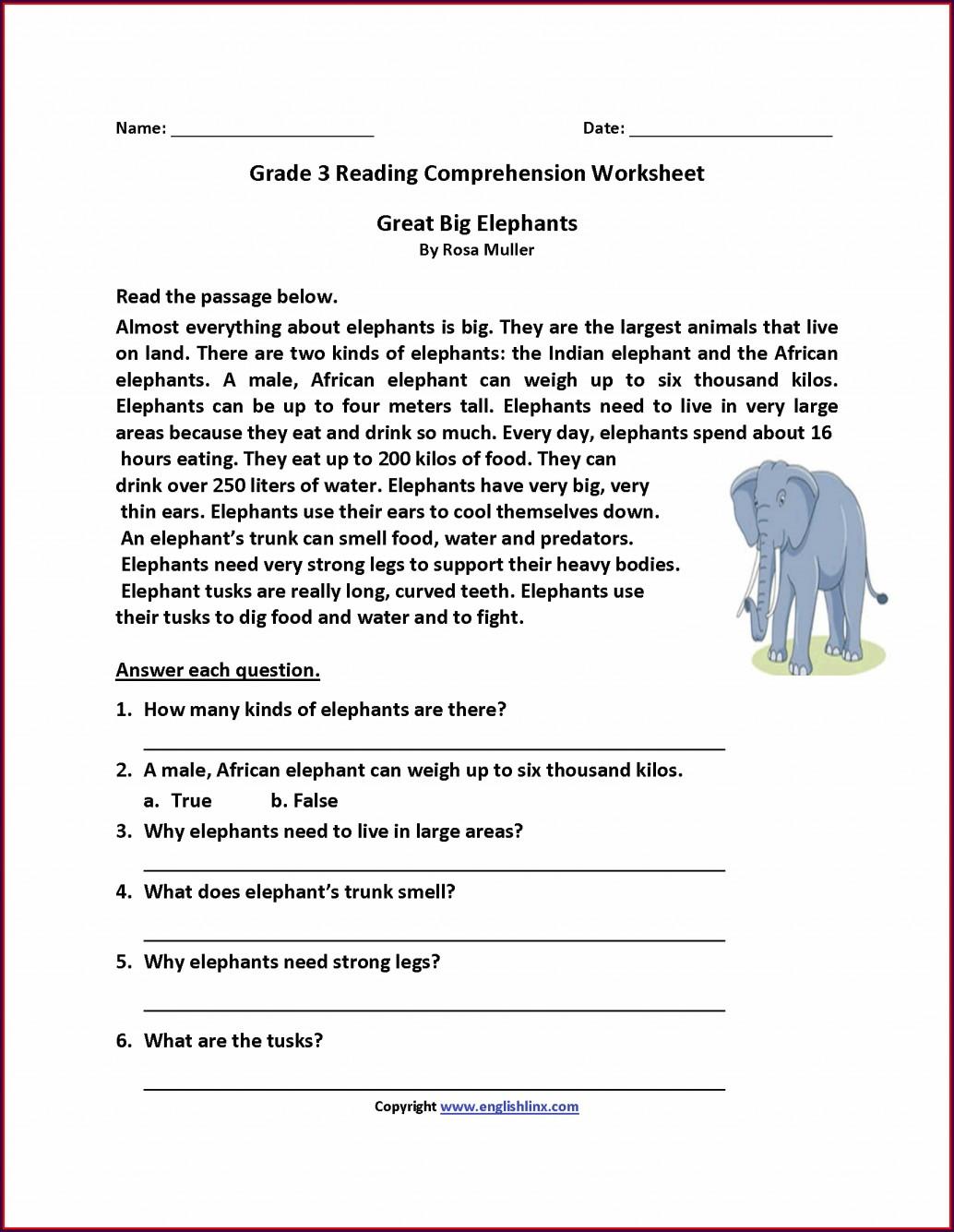 Third Grade Reading Worksheet 3rd Grade