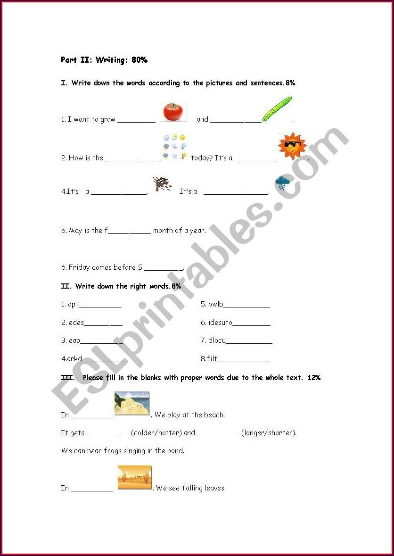 Third Grade Writing Worksheet