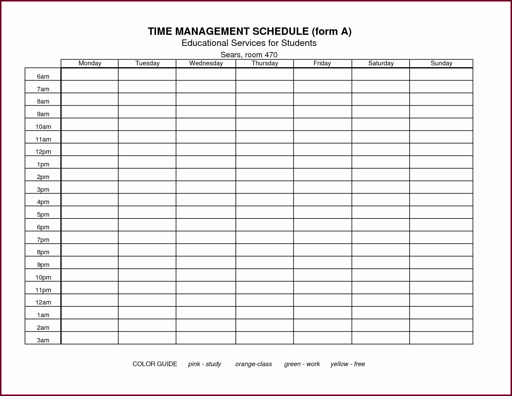Time Management Worksheet Xls