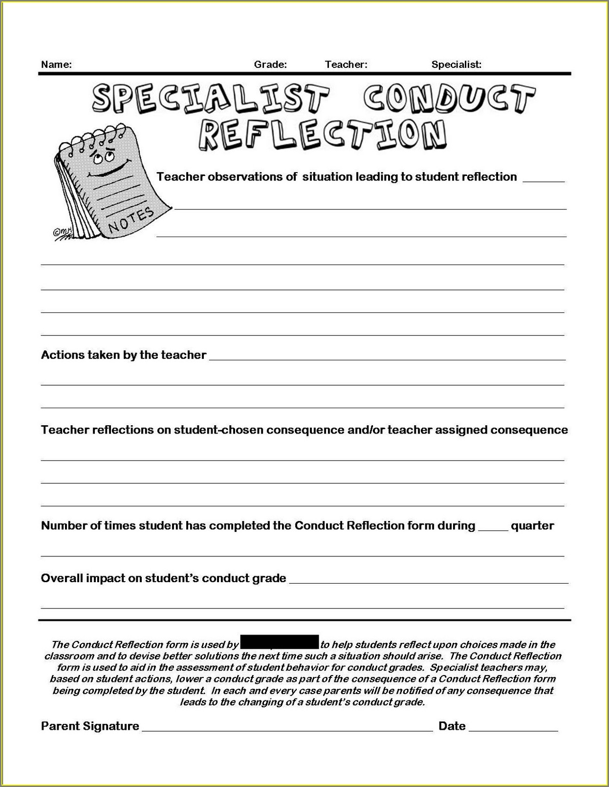 Time Out Reflection Sheets