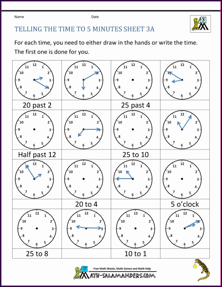 Time To The Nearest Minute Worksheet