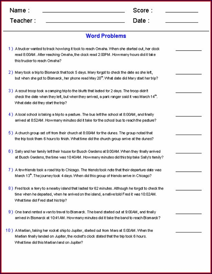 Time Word Problem Worksheet For Grade 4