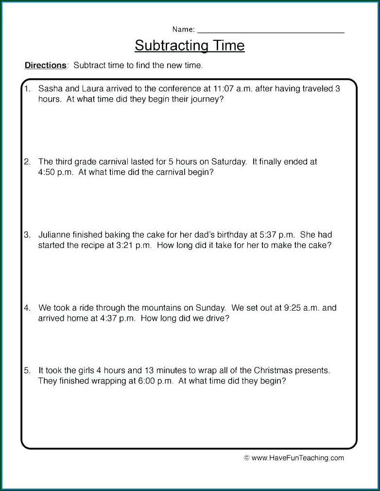 Time Word Problems Worksheets Grade 6