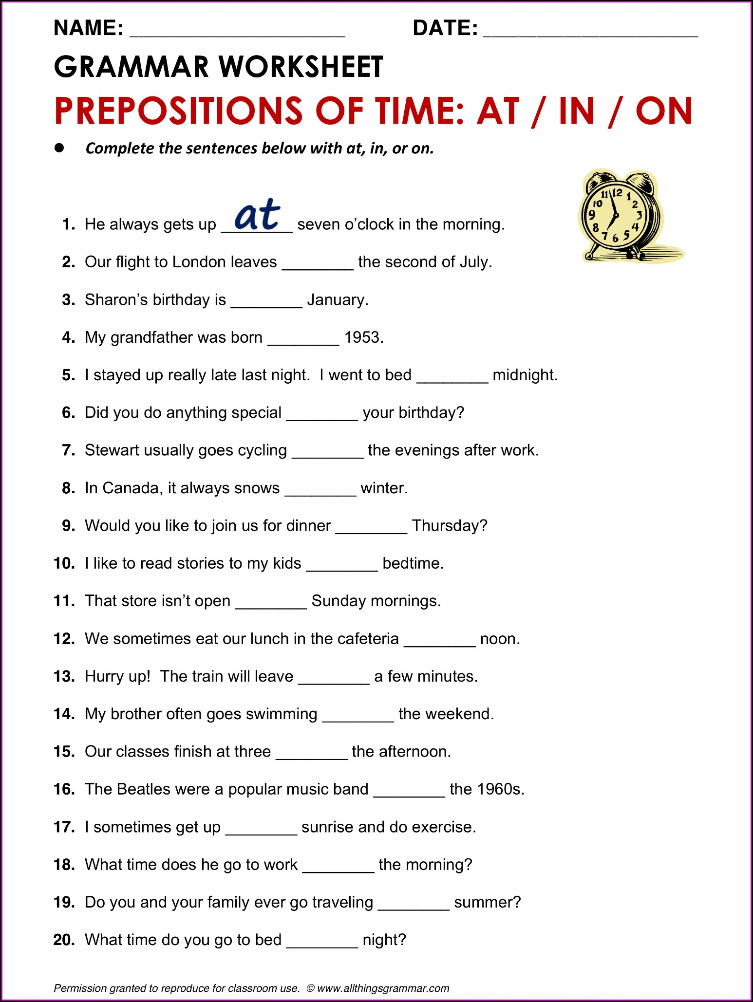 Time Worksheet Class 3