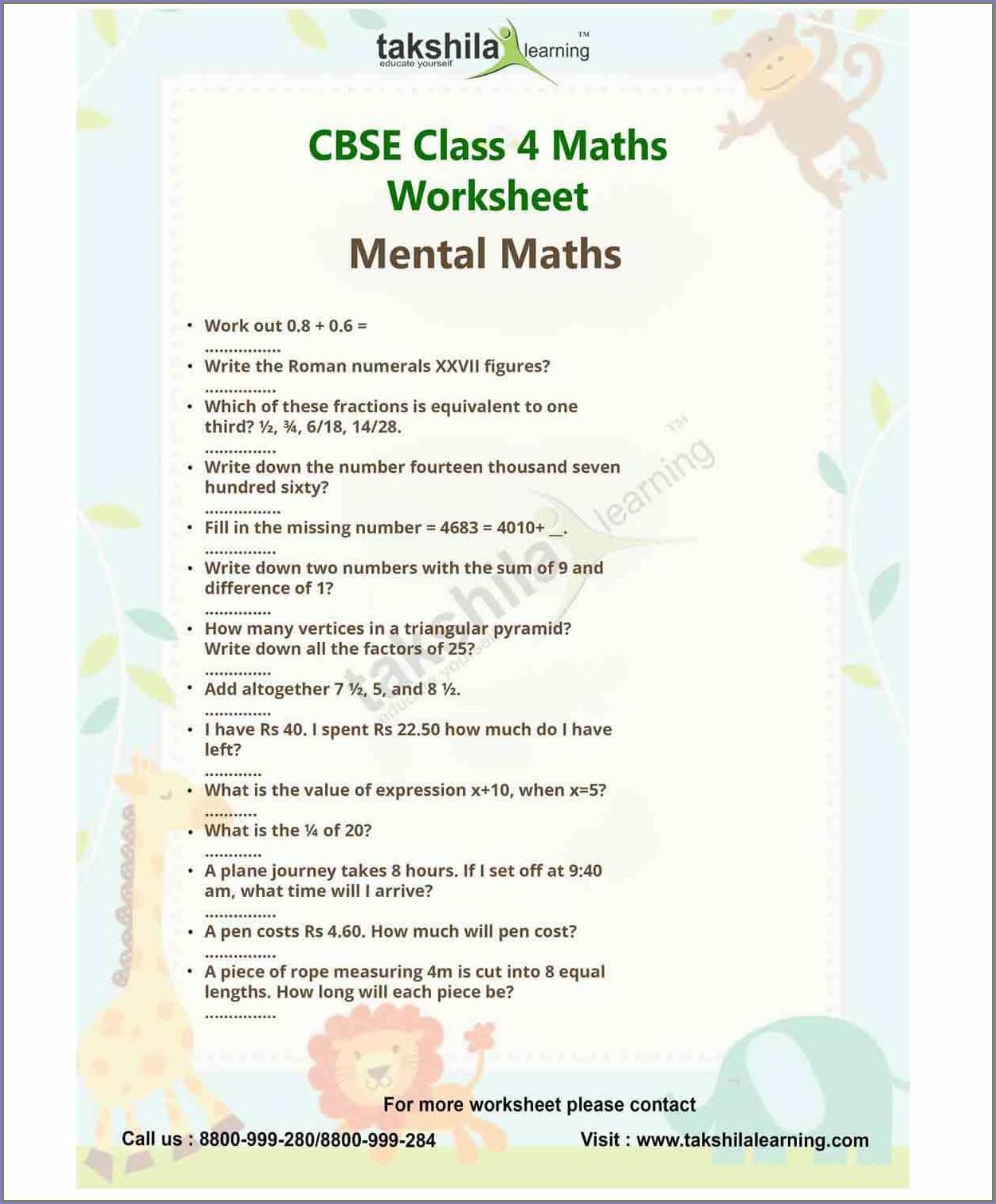 Time Worksheet For Grade 4 Cbse