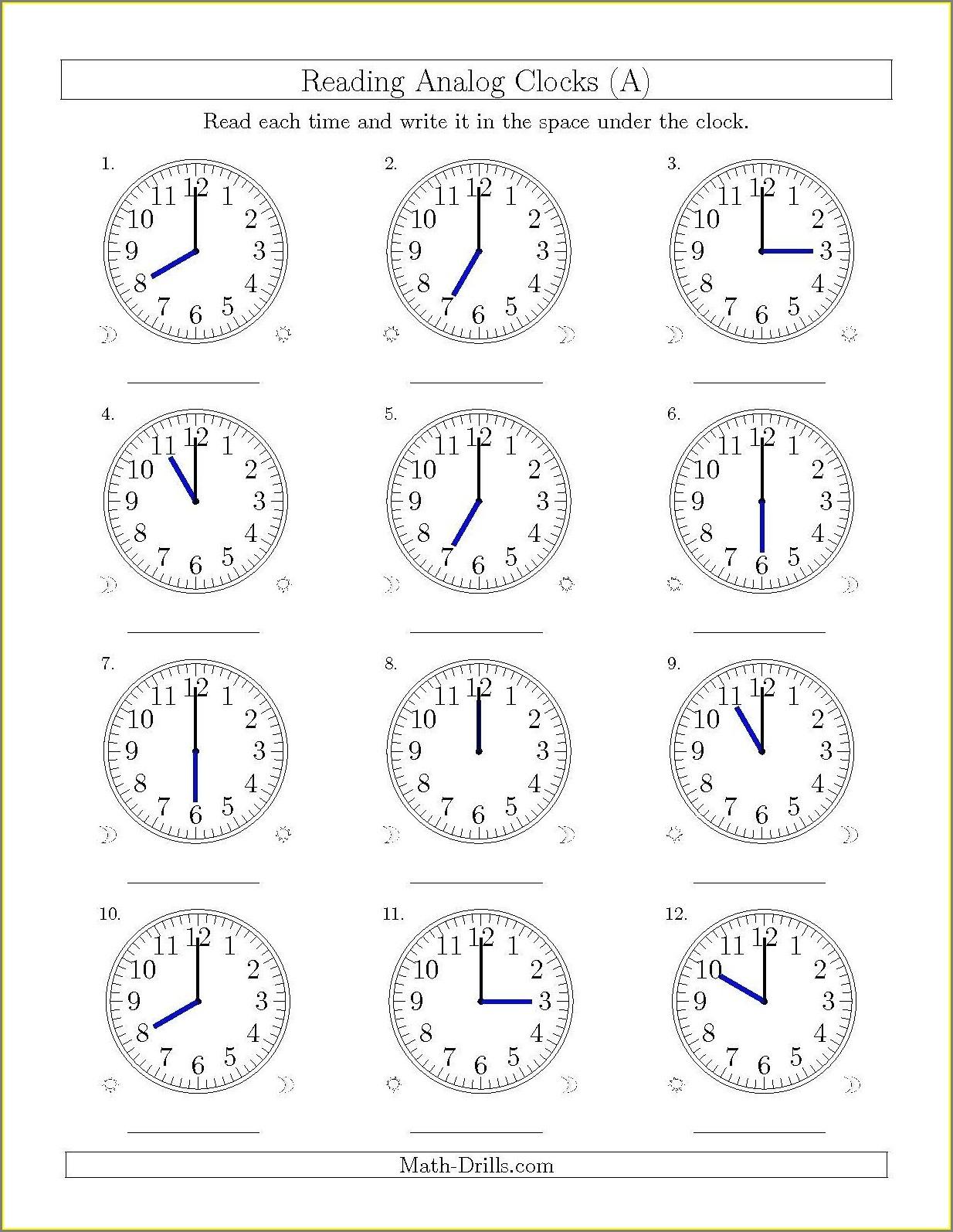 Time Worksheet For Grade 5
