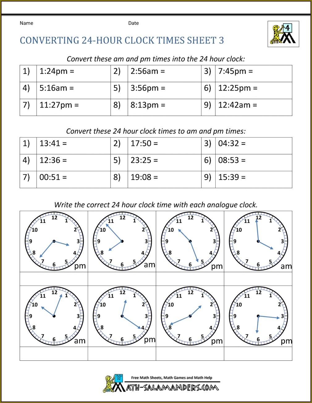 Time Worksheet Grade 5 Pdf