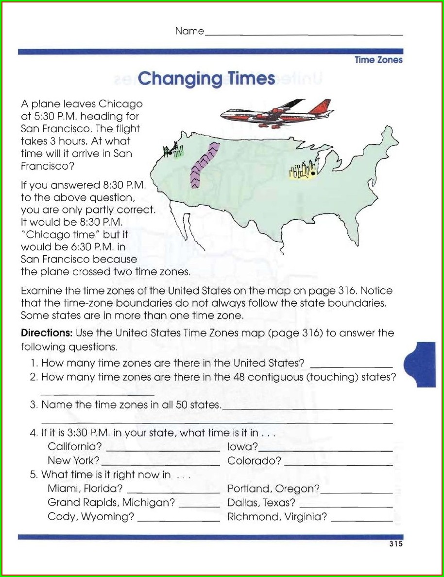 Time Zones Of The World Worksheet Answer Key