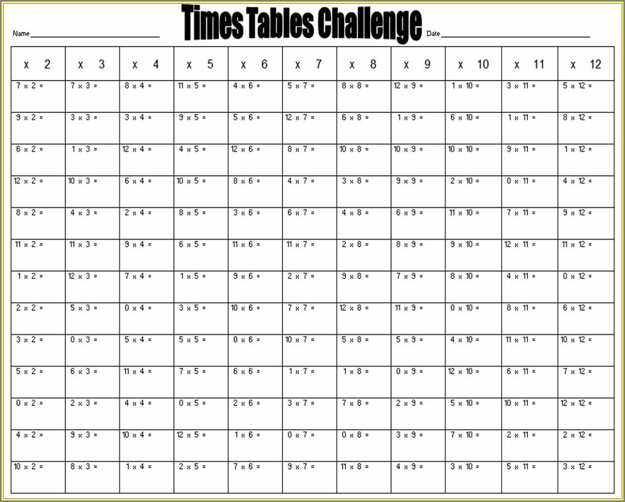 Times Table Challenge Worksheets Ks2