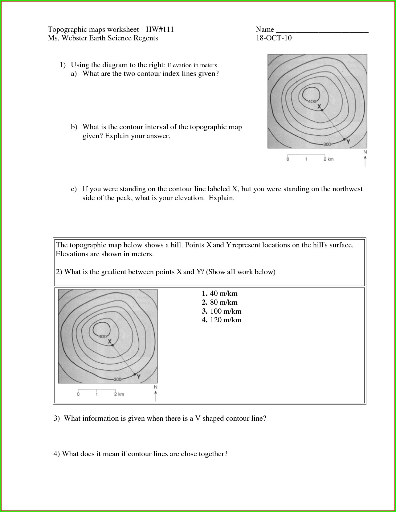 Topographic Map Worksheet #2 Answer Key