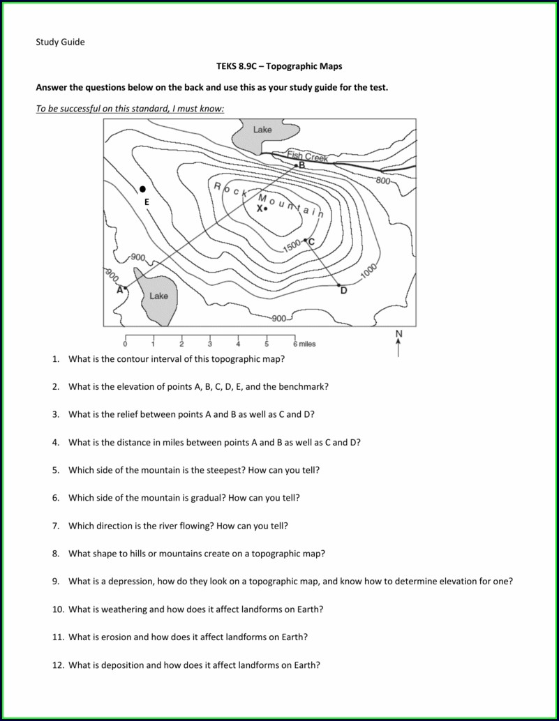 Topographic Map Worksheet Answers Key