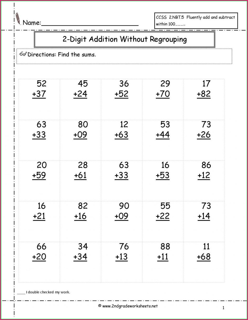 Touch Math Two Digit Addition Worksheets