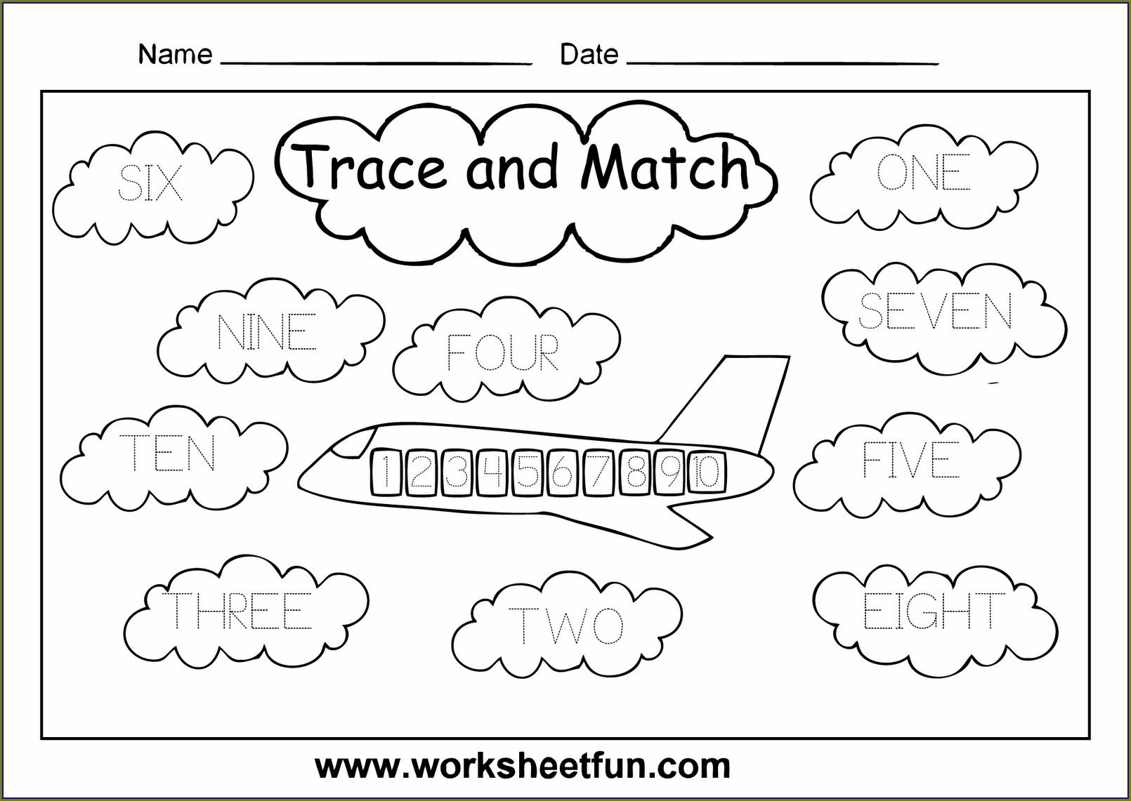 Tracing Number Names Worksheets