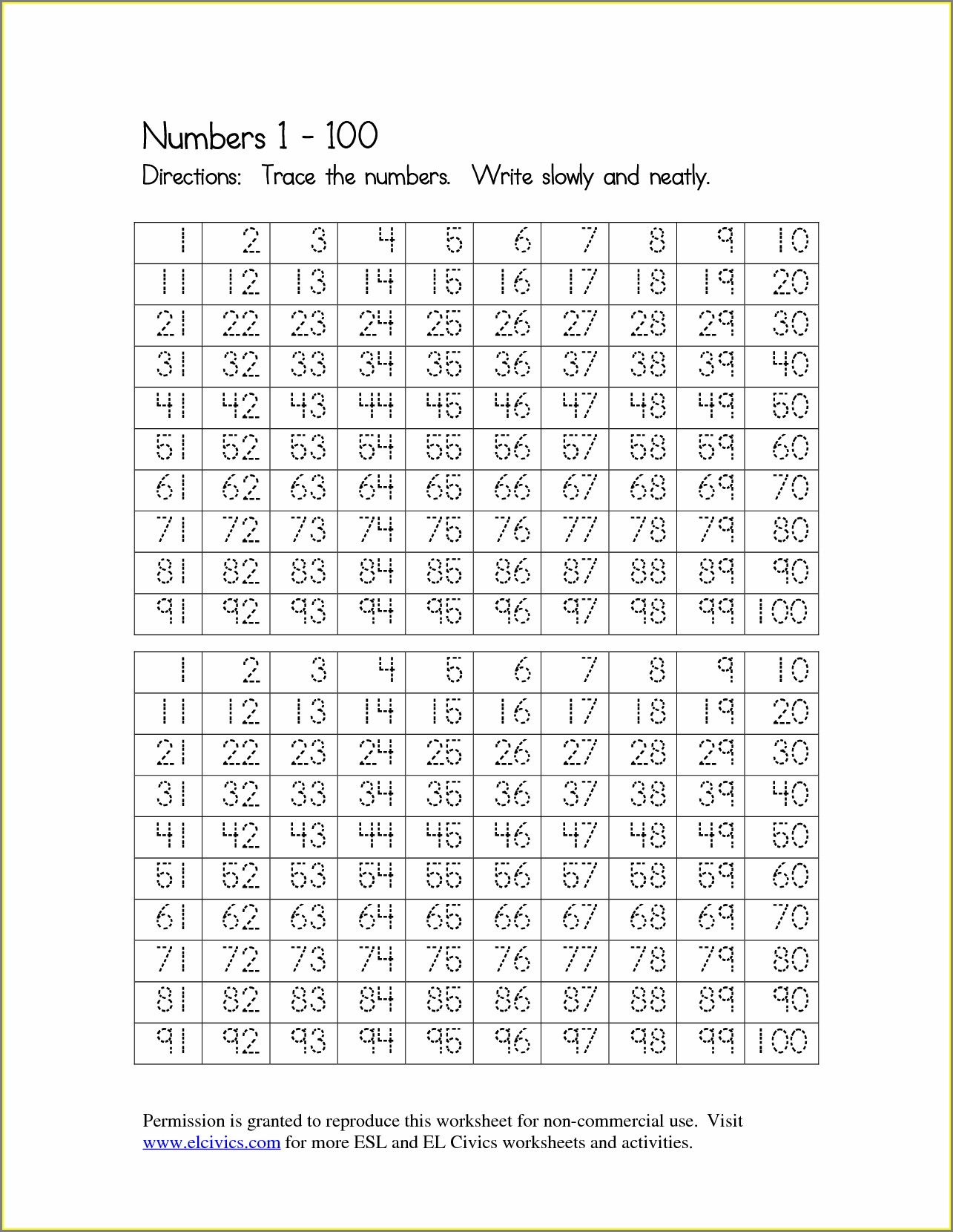 Tracing Numbers To 20 Worksheet