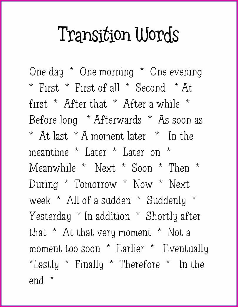 Transition Words Worksheet 3rd Grade Pdf