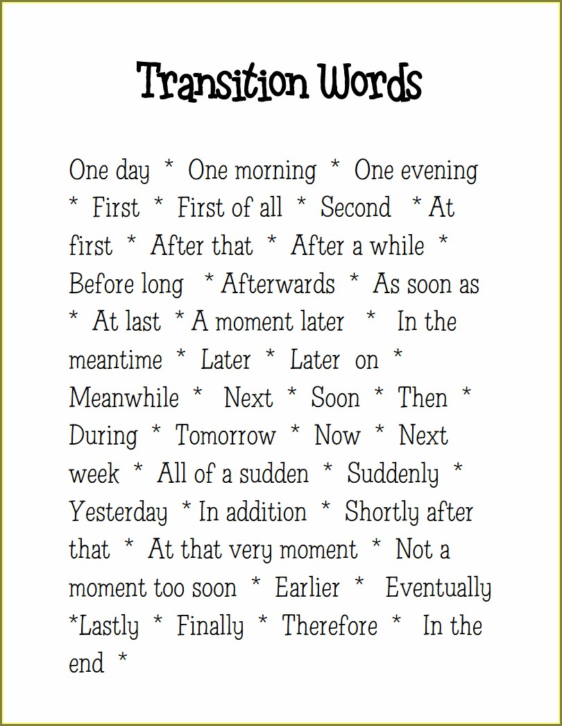 Transition Words Worksheet 4th Grade Pdf