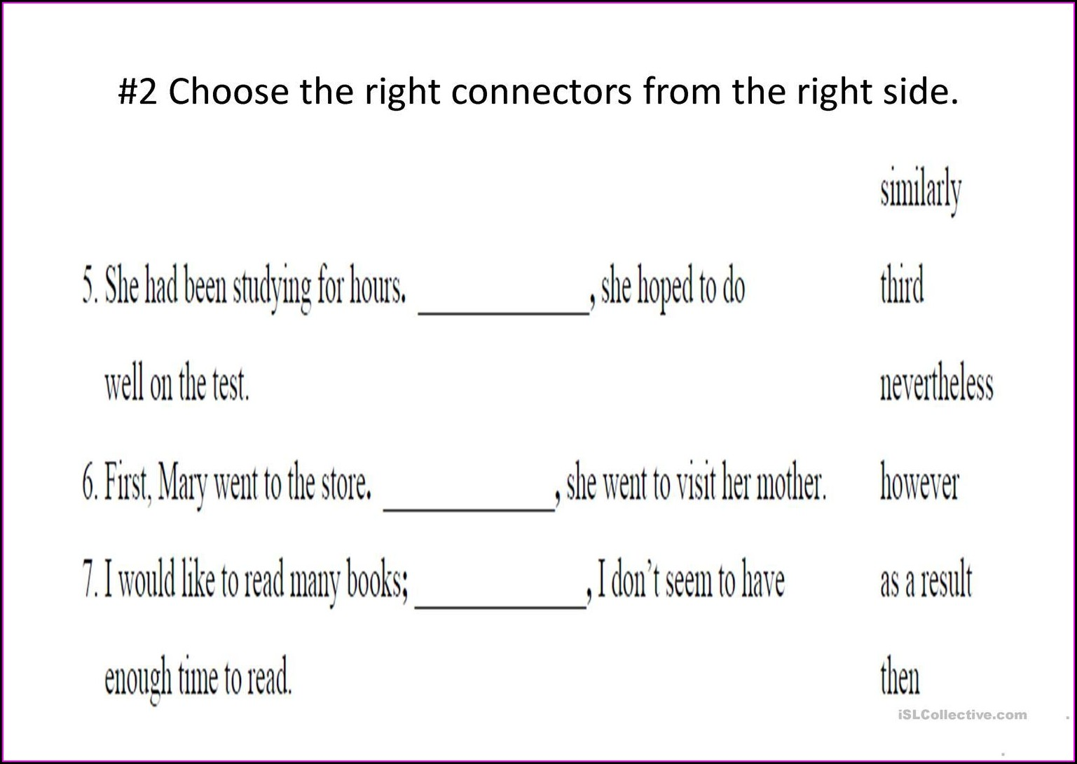 Transitional Words Activities Worksheets