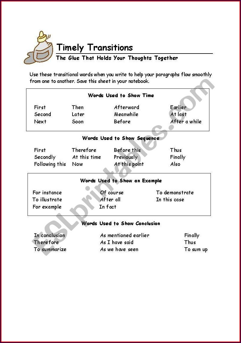 Transitional Words Worksheet 2nd Grade