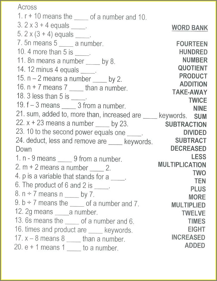 Translating Algebraic Expressions Word Problems Worksheet
