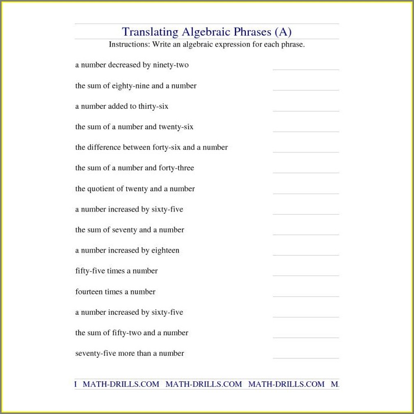 Translating And Evaluating Algebraic Expressions Worksheet