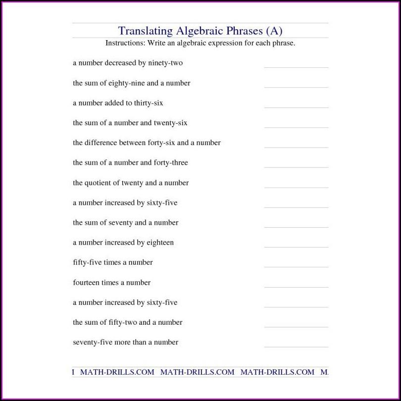 Translating English To Math Worksheet Pdf