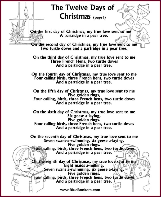 Twelve Days Of Christmas Math Worksheet