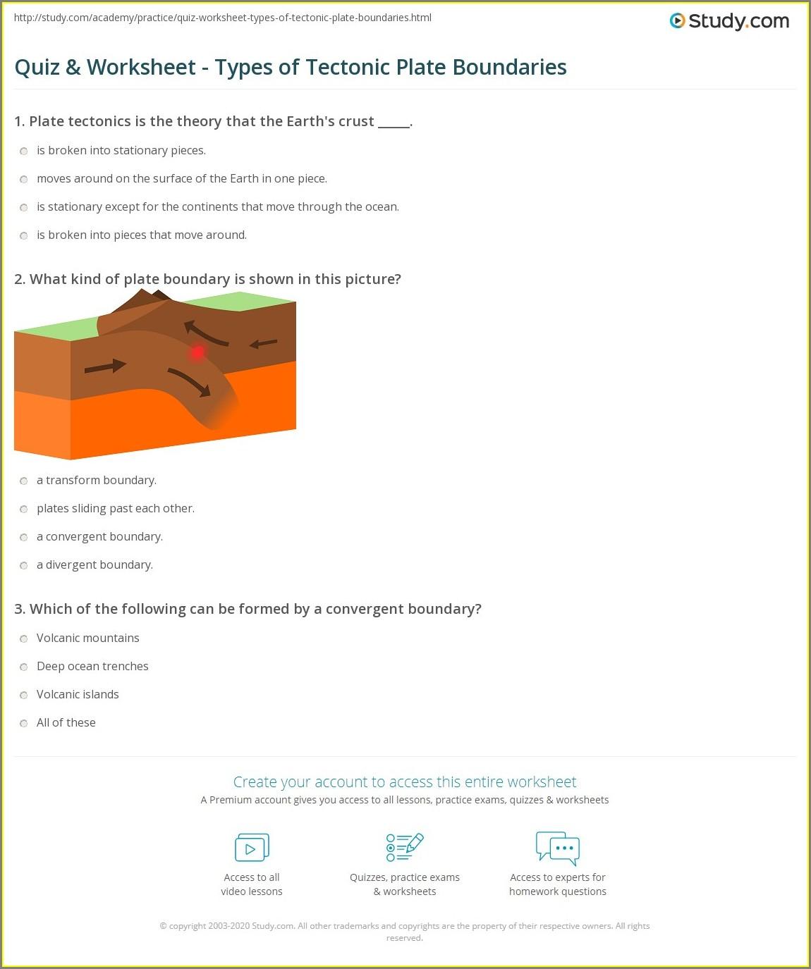 Types Of Plate Boundaries Worksheet