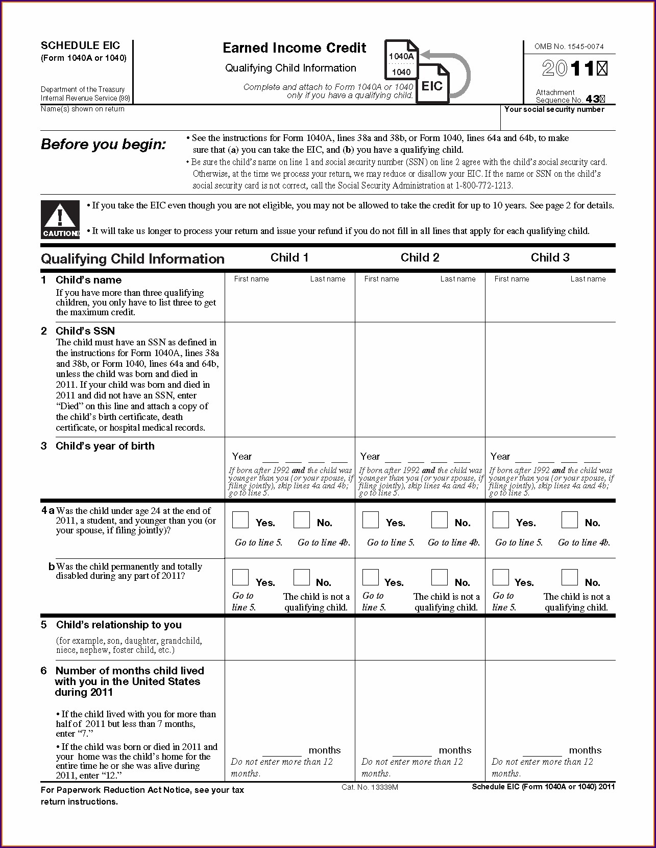 Us Schedule Eic Earned Income Credit Worksheet