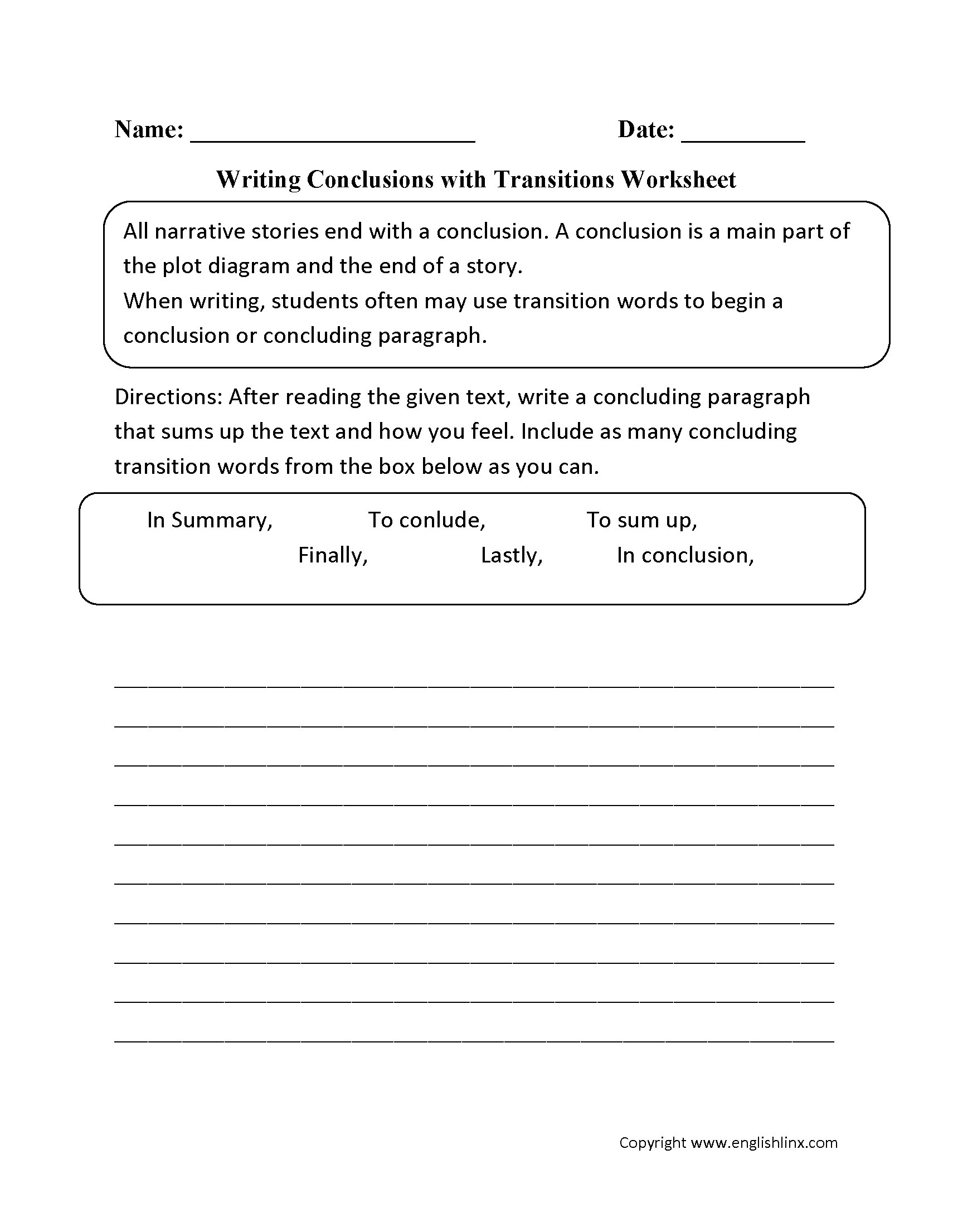 Using Transitional Words Worksheets